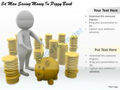 1113 3D Man Saving Money in Piggy Bank Ppt Graphics Icons Powerpoint #Powerpoint #Templates #Infographics
