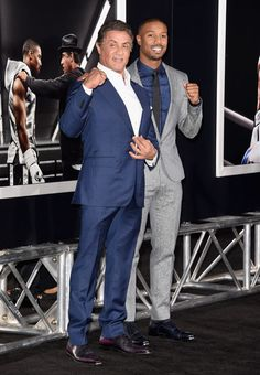 Michael B. Jordan and Sylvester Stallone attend the premiere new film 'Creed.'