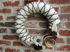 Rustic Wreath. Yarn + Felt by pnbodrick