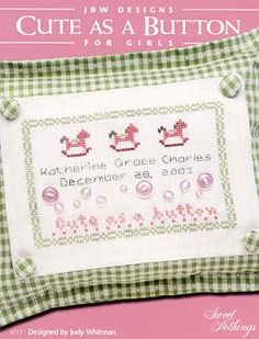 JBW Designs Cute as a Button Girls - Cross Stitch Pattern. Model stitched on 28ct. Linen Cloth with The Gentle Arts Sampler Threads. …