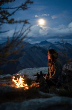 instinct-photography:  Magical night in the mountains with my Malinois.