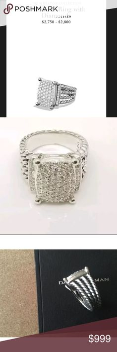 David Yurman 16x12 mm Wheaton Pave Diamond Ring David Yurman Sterling Silver 16x12mm Wheaton Pave 1.12 Ct Diamond Ring   Stamped D.Y 925  Diamonds ct 1.12  Total weight 11.g approx  Size 7 Diameter 0.83 inches.  Comes with original David Yurman box.                                                                    💓💓💓💓💓💓💓 Shop with confidence---✨Authenticity will be verified by the Posh Concierge  service via a hands-on examination of the ring before being shipped directly from posh…