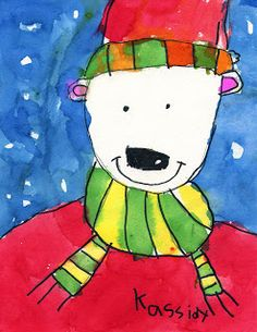 How to draw a Christmas Snow Bear from Art Projects for Kids. It's supposed to be for kids, but I think it would be a good sister project.