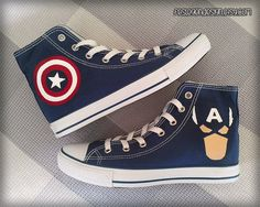 Hey, I found this really awesome Etsy listing at https://www.etsy.com/listing/186767707/captain-america-custom-converse-painted