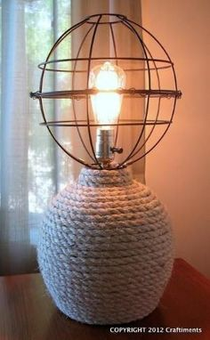 DIY Lanterns DIY Home DIY Decor DIY Nautical Rope Lamp with Openwork Globe Shade by vladtodd