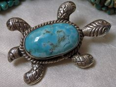 """BIG 2.5"""" Nevada BLUE GEM Natural TURQUOISE STERLING Silver TURTLE PENDANT~PIN"""