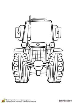 Dessin à colorier du devant d'un tracteur