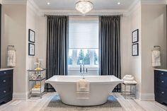 Copperwood Kleinberg model home designed by Jane Lockhart Interior Design for the Sorbara Group of Companies. Simple Bathroom Designs, Bathroom Ideas, Bathroom Inspiration, Modern Bathroom Light Fixtures, Bathroom Renovations, Bathrooms, Custom Cabinetry, Model Homes, Master Bathroom