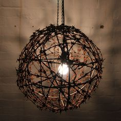Barbed Wire lamp shades and wire light fittings.Unique light fittings for the home. Different light fittings. Shadow effect lighting. Wire Pendant Light, Pendant Lighting, Chandelier, Lamp Shades, Light Shades, Barbed Wire Decor, Industrial Lamp Shade, Industrial Style, Cage Light