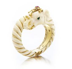 1973 van cleef & arpels carved ivory, ruby, turquoise, and diamond elephant bracelet