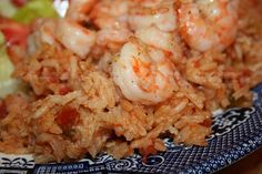 Southern Red Rice with Shrimp - Similar to Spanish rice, red rice is a blend of vegetables, tomatoes, rice and fresh shrimp.