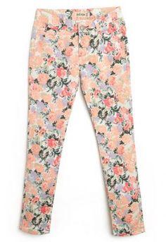 Beige Peach Floral Print Skinny Pant  #SheInside