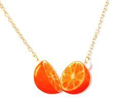 Orange Fruit Necklace - Pendant Tropical Juicy Kitsch Tangerine Nectarine Handmade (15.00 GBP) by starsNscars