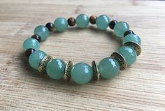 Green Aventurine Bracelet Prosperity Wealth Success Bracelet with Tiger's Eye #Handmade #Beaded