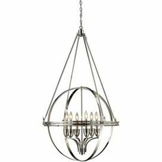 """Openwork globe-inspired chandelier with a polished nickel finish.   Product: Chandelier Construction Material: Metal Color: Polished nickel  Accommodates:  (6) 60 Watt candelabra base bulbs - not included  Dimensions: 51"""" H x 32"""" W"""