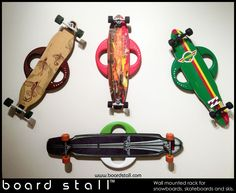 Board Stall racks with skateboards www.boardstall.com