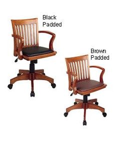 @Overstock - Office Star banker's desk chair have a comfortable padded vinyl seatOffice chair features pneumatic seat height adjustment for a perfect fitWood arms and wood-covered steel base make chair a durable addition to your office decorhttp://www.overstock.com/Office-Supplies/Office-Star-Padded-Bankers-Chair/3021454/product.html?CID=214117 $149.99