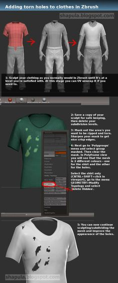 Shapula: Tutorial - Adding torn holes to clothes in Zbrush