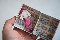 Little Pink Girl and her Tiny House Art Doll Brooch by miopupazzo
