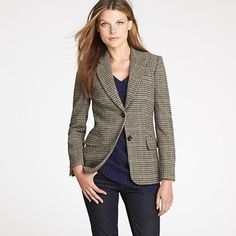 A Houndstooth Blazer is a Staple in my wardrobe.    I pair it regularly with a colorful scarf, jeans, and boots. So easy to throw on during those in between seasons days.