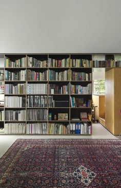 Small space living!!! Anthony Gill Architects, Potts Point Apartment, Formply Bookshelf as partition and room divider | Remodelista