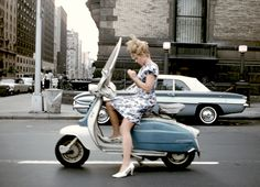 Joel Meyerowitz - A girl on a scooter, NYC, 1965 - mlkshk