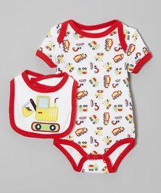 Loving this Red & White Construction Bodysuit & Bib - Infant on #zulily! #zulilyfinds