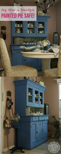 Big, Blue & Beautiful - Painted Pie Safe - Happily Ever After, Etc.