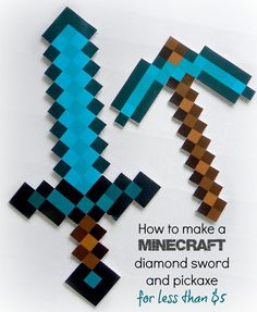 Perfect for Halloween or a Minecraft party! How to make a MINECRAFT diamond sword and pickaxe | kerryannmorgan.com: