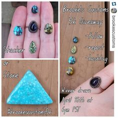 Check out this awesome artist!!! #Repost @brookescustoms with @repostapp.  It's about that time! :) Havent had a giveaway since I hit 2k!! As a thank you to all of you for your love and support one lucky winner will get to choose between that sweet water web Kingman triangle cabochon or a custom sterling silver stacker with one of the 4 beautiful stones in the top left (Rare Blue Ridge Turquoise Damele or New Lander). Winner will be announced on Monday April 18th at 6pm PST. All you gotta do…