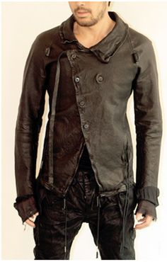 Visions of the Future // Costume of Provocation: Boris Bidjan Saberi: Leather Jacket Revival Clothing, Sports Jacket, Mode Outfits, Jacket Style, Look Cool, Leather Men, Leather Jackets, Style Guides, Men Casual