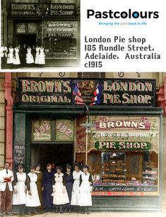 The London Pie shop was situated at 182 Rundle Street Adelaide. A thriving store it catered to the pedestrians in the thriving retail strip: Brought back to life with colorisation by Past Colours. Family Portraits, Family Photos, Vivid Colors, Colours, Pie Shop, Continue Reading, Prison, Buildings, The Past