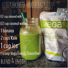 Green Energy: Vega Protein Smoothie. Or replace Vega with a tbsp of instant coffee. #bestsmoothie #vegasmoothie