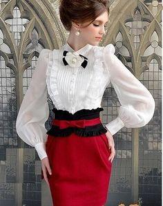 Stylish for SweetAndyLatex Morpheus Boutique - White Chiffon Vintage Style Bow Ruffle Long Sleeve Shirt Lolita Fashion, Hijab Fashion, Fashion Dresses, Vintage Outfits, Vintage Fashion, Vintage Style, Vintage Inspired, White Chiffon, Beautiful Blouses