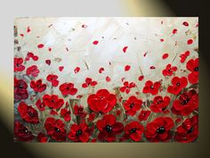 "Red Poppy Field, Original Textured Abstract Painting 24x36"" by Christine Krainock"