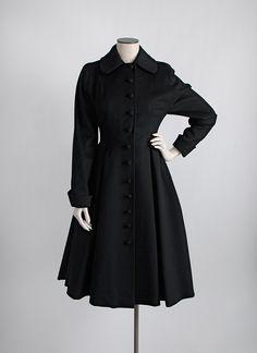 1950s black wool button front princess coat  *hemlockvintage.com