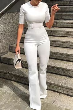 Short sleeve bell-bottom Women white bodycon jumpsuit 👽🖖🏾 Woman Jumpsuits plus woman wide-leg jumpsuit Bodycon Jumpsuit, Asos Jumpsuit, Jumpsuit Outfit, Fitted Jumpsuit, Casual Jumpsuit, Summer Jumpsuit, Strapless Jumpsuit, Red Jumpsuit, Jumpsuit With Sleeves