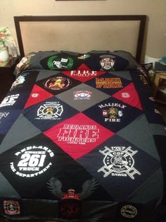 Tshirt blanket Firefighter by Lilredtab on Etsy https://www.etsy.com/listing/199248048/tshirt-blanket-firefighter