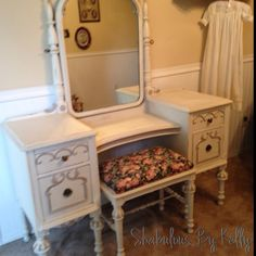 This 1920's vanity was painted in Light Cream by Old fashioned Milk Paint Company. The accents are a mix of old cream and a touch of driftwood.