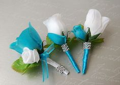 13pc Turquoise White Wedding Bouquets,Boutonnieres,Corsages,rose Peony Silver
