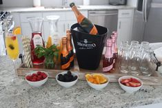 Guide to setting up the perfect mimosa bar for your next get-together. Peach Juice, Cranberry Juice, Mionetto Prosecco, Sunshine Birthday Parties, Rainbow Sherbet, Bar Set Up, Mimosa Bar, Easter Brunch, Orange Slices
