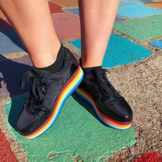 07f0745b9a3 Fashion blogger and Rocket Dog fan  polychromist steps out in our Reagle  Rainbow Platform Sneaker