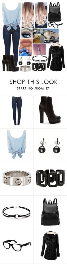 """""""Untitled #2267"""" by nicolerunnels ❤ liked on Polyvore featuring Frame Denim, Forever 21, Honor, NYX, Rebecca and Ray-Ban"""