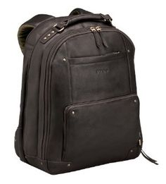 Extra sturdy leather laptop backpack - has a  lovely turquoise lining. This bag is strong and can take real rough use and exposure to weather without showing no signs of what it has gone through.