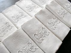 Antique french linen damask napkins...monogrammed of course!