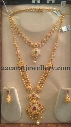 Jewellery Designs: Trendy CZ Sets by Sri Mahalaxmi Jewellers Gold Haram Designs, Gold Earrings Designs, Gold Jewellery Design, Necklace Designs, Gold Designs, Handmade Jewellery, Silver Jewellery, Gold Jewelry Simple, Schmuck Design