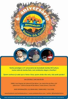 """Criado em 2006, o projeto Sociedade Samba Dá Cultura, realiza todo 1º domingo do mês na Casa de Cultura de M'Boi Mirim, uma roda de samba com o objetivo de reunir velhos amigos e moradores da região de Santo Amaro e mediações da Guarapiranga e Piraporinha, que apreciam o verdadeiro samba de raiz.E por tradição...<br /><a class=""""more-link"""" href=""""https://catracalivre.com.br/geral/agenda/barato/6%c2%ba-aniversario-da-sociedade-samba-da-cultura/"""">Continue lendo »</a>"""