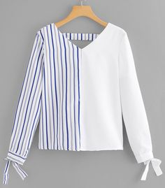 Casual Striped Top Regular Fit V neck Long Sleeve Pullovers White Regular Length Bow Detail Cuff Striped Blouse Look Fashion, Hijab Fashion, Korean Fashion, Fashion News, Fashion Dresses, Fashion Women, Blouse Styles, Blouse Designs, Spring Shirts