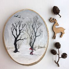 Original Art: Hand painted wood slice with winter landscape and gnome, nisse, tomte. Xmas, jul, christmas, scandinavia, snow, wood, land. by ArtLisbethThygesen on Etsy