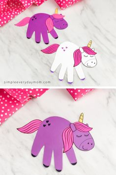 If you're looking for a simple unicorn craft for kids to make this handprint unicorn is great! It's an easy and cute activity that comes with a free printable template. Learn how easy it is to make with our video tutorial. Fun Crafts For Girls, Kids Crafts, Sewing Projects For Kids, Toddler Crafts, Preschool Crafts, Diy For Kids, Beach Crafts, Preschool Kindergarten, Summer Crafts